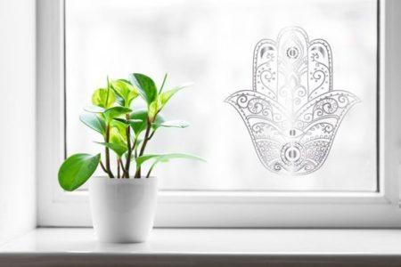 GlassIt מדבקת קעקוע זכוכית- דגם חמסה 5 צבע כסף מטאלי