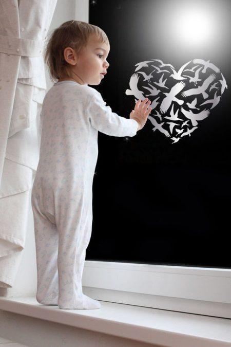 GlassIt מדבקת קעקוע זכוכית- דגם לב שחפים 6 צבע כסוף מטאלי