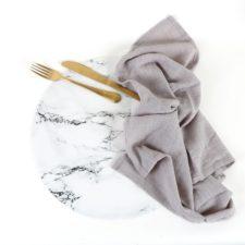 פלייסמט עגול מעוצב עמיד בחום - דגם White Marble