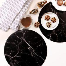 פלייסמט עגול מעוצב עמיד בחום - דגם Black Marble