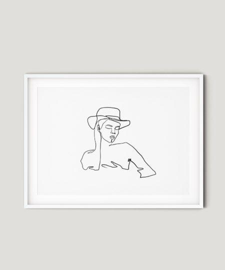 פוסטר למיסגור - one line girl with a hat