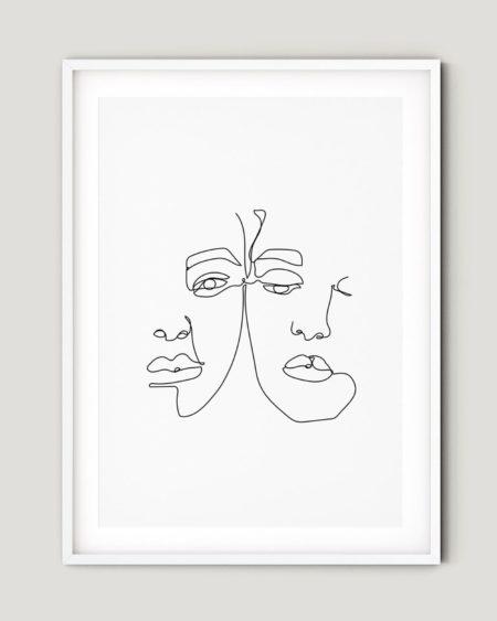 פוסטר למיסגור - one line couple
