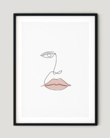 פוסטר למיסגור - one line girl with lipstick