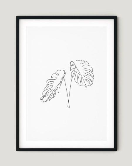 פוסטר למיסגור - One line Leaves