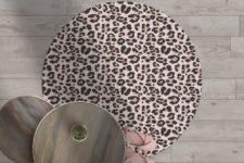 שטיח ויניל מעוצב עגול דגם Leopard