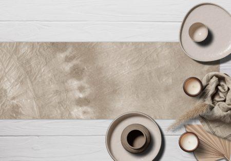 ראנר ויניל מבודד לשולחן דגם Natural Tie Dye
